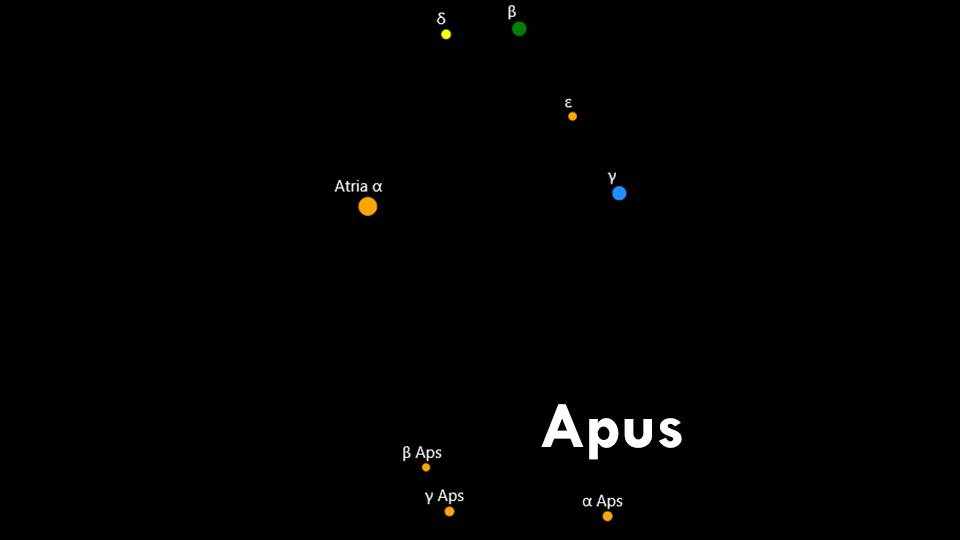 Constellation Apus and Triangulum-australe